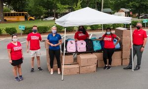 Office Depot employees ready to hand out school supplies for remote learning
